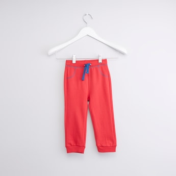 Full Length Jog Pants with Drawstring and Contrast Detail