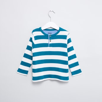 Striped T-shirt with Henley Neck and Long Sleeves