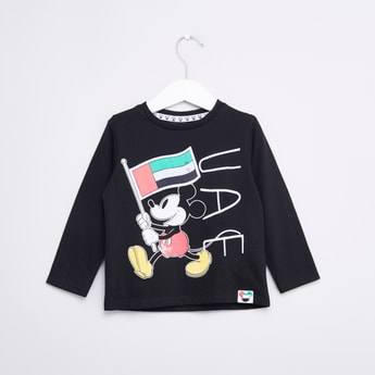 Mickey Mouse Printed Round Neck T-shirt with Long Sleeves