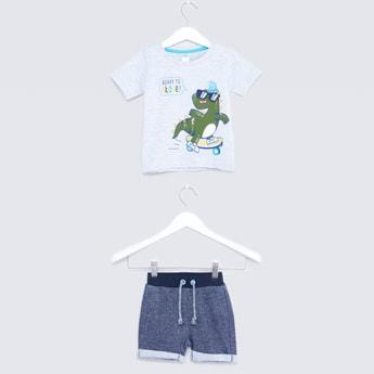 Graphic Printed T-shirt and Shorts Set
