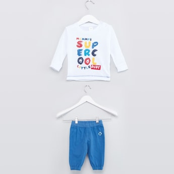Printed T-shirt and Jog Pants Set