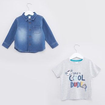 Denim Long Sleeves Shirt and Printed T-shirt Set