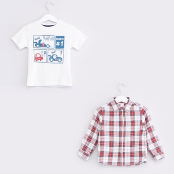 Printed Round Neck T-shirt and Checked Button-Down Shirt Set