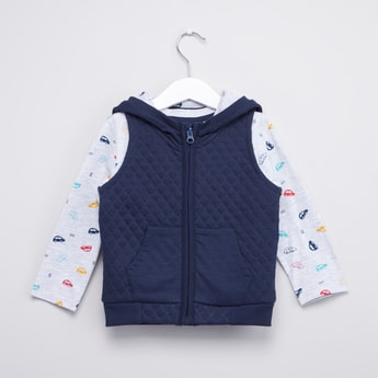 Printed Long Sleeve T-shirt and Quilted Sleeveless Hoodie