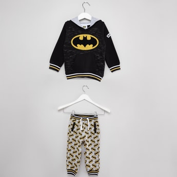 Batman Print Sweatshrit and Jog Pants Set