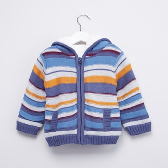Striped Hooded Sweater with Long Sleeves and Zip Closure