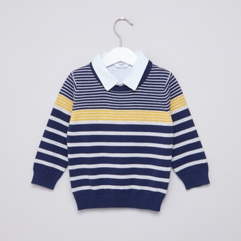 Striped Sweater with Mock Collar and Long Sleeves