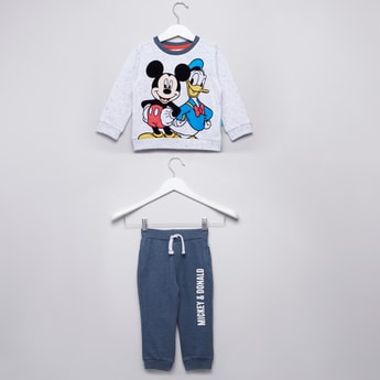 Mickey and Donald Printed T-shirt and Jog Pants Set
