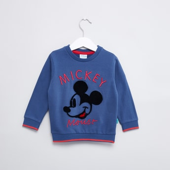 Mickey Mouse Textured Sweatshirt with Round Neck and Long Sleeves
