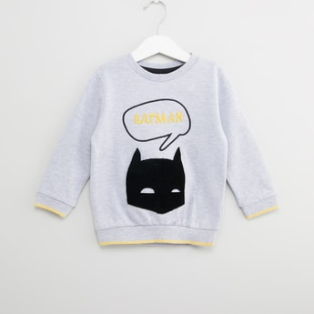 Batman Embroidered Sweatshirt with Round Neck and Long Sleeves
