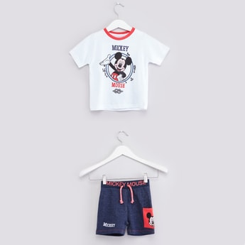 Mickey Mouse Printed T-shirt with Drawstring Shorts