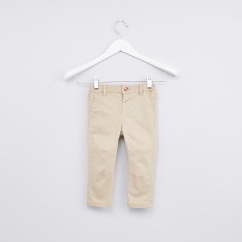 Solid Chino Pants with Stitch Detial and 3-Pockets