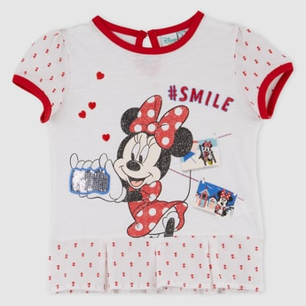 Minnie Mouse Printed Round Neck T-Shirt
