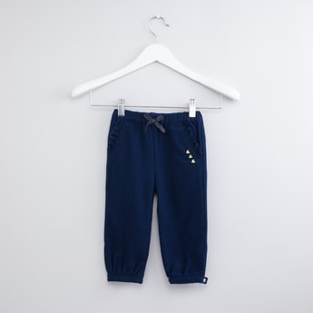 Textured Jog Pants with Pocket and Ruffle Detail