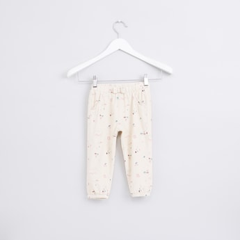 Printed Jog Pants with Elasticised Waistband and Bow Detail