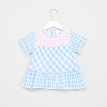 Chequered Short Sleeves Peplum Top