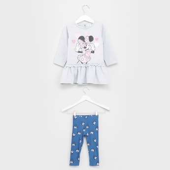 Minnie Mouse Printed Round Neck Tunic with Leggings