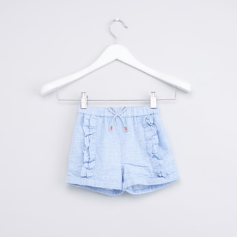 Textured Shorts with Ruffle Detail and Drawstring