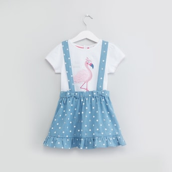Flamingo Print T-shirt with Denim Suspender Skirt Set