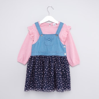 Panelled Denim Pinafore Dress and Long Sleeve Top Set