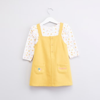 Printed Pinafore and Long Sleeves T-shirt