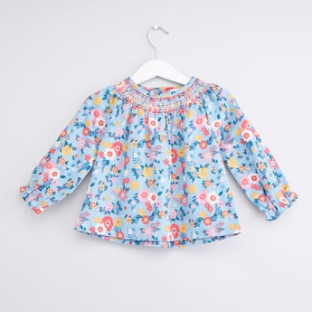 Floral Printed Top with Long Sleeves and Elasticised Collar