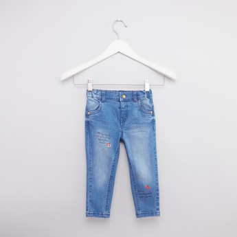 Jeans with Embroidery Detail and Pockets