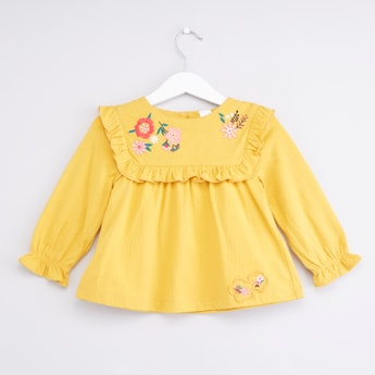 Floral Embroidered Top with Long Sleeves and Ruffle Detail