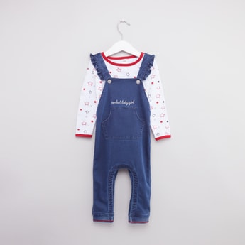 Printed Long Sleeves T-shirt with Denim Dungarees