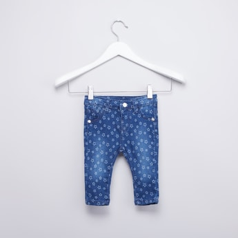 Star Printed Jeans with Pocket Detail and Belt Loops