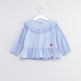 Frill Detail Top with Long Sleeves and Button Closure
