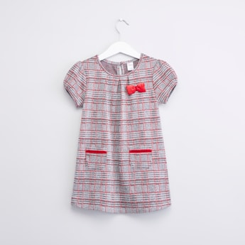 Chequered Dress with Round Neck and Short Sleeves