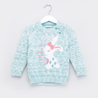Textured Sweater with Long Sleeves and Bow Applique