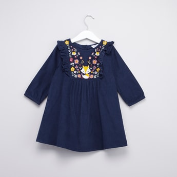 Textured Dress with Round Neck and Embroidery Detail