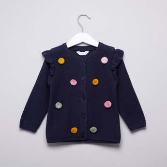Textured Cardigan with Long Sleeves and Applique Detail