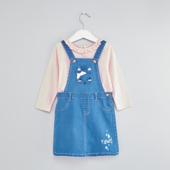 Long Sleeves T-shirt and Denim Pinafore with Button Closure