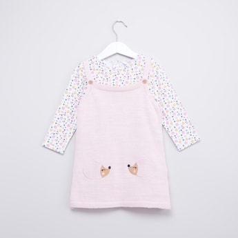 Printed Long Sleeve T-shirt and Pinafore with Button Accent