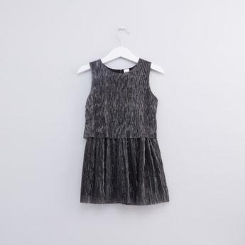 Textured Sleeveless Round Neck Dress
