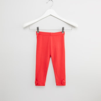 Plain Leggings with Elasticised Waistband and Bow Applique Detail