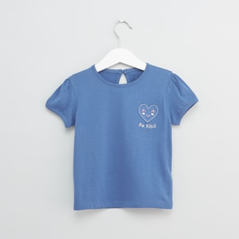Embroidered Round Neck T-shirt with Short Sleeves