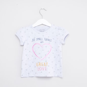Printed Round-Neck T-shirt with Short Sleeves