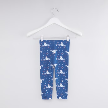 Printed Leggings with Bow Applique Detail