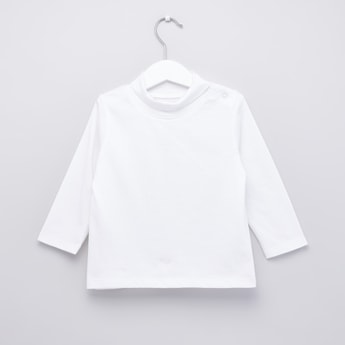Plain T-shirt with Turtle Neck and Long Sleeves