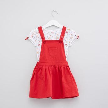 Pocket Detail Pinafore Dress with Printed T-Shirt