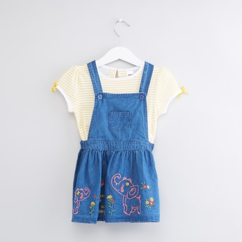 Striped T-Shirt with Bow Applique with Printed Pinafore