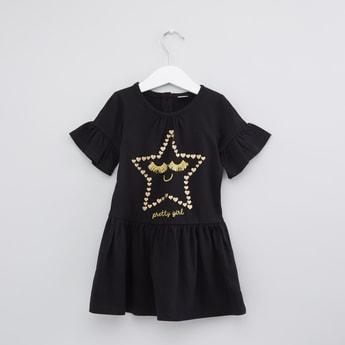 Printed Round Neck Short Sleeves Dress