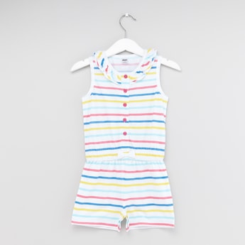 Striped Sleeveless Playsuit with Frill and Bow Detail