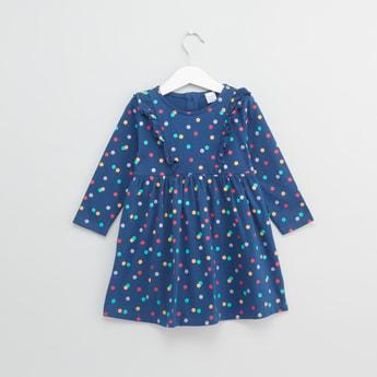 Polka Dot Printed Dress with Ruffle Detail and Long Sleeves