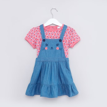 Printed Pinafore Dress with T-shirt