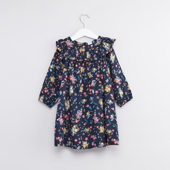 Floral Printed Dress with Long Sleeves and Frill Collar Detail